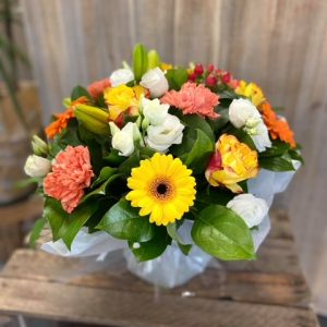 Bouquet rond avec bulle d'eau Tons colorés